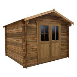 Casetta in legno massello trattato 9m² PLUS 28mm marrone Gardy Shelter
