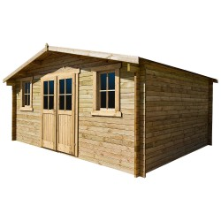 Casetta in legno massello trattato 16m² PLUS 28mm marrone Gardy Shelter