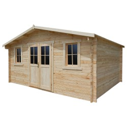 Casetta in legno massello 16m² PLUS - listoni 28mm Gardy Shelter