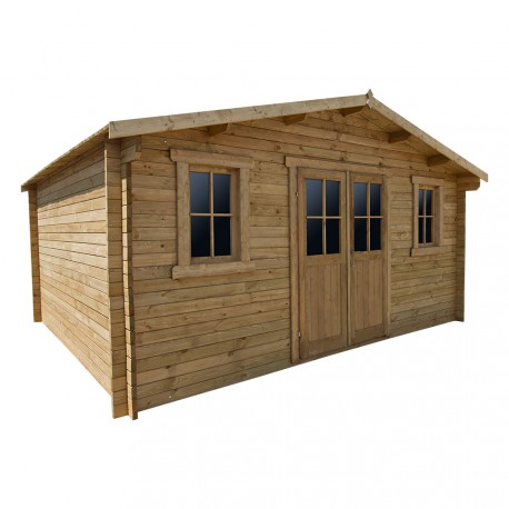 Casetta in legno massello trattato 19,8m² PLUS 28mm marrone Gardy Shelter