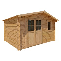 Casetta in legno massello trattato 12m² PLUS 28mm marrone Gardy Shelter