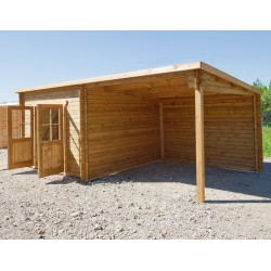 Casetta tetto piano 9m² PLUS + tettoia laterale 9m² in legno trattato 28mm marrone Gardy Shelter