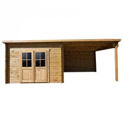 Casetta tetto piano 9m² PLUS 40mm + tettoia laterale 9m² in legno trattato marrone Gardy Shelter