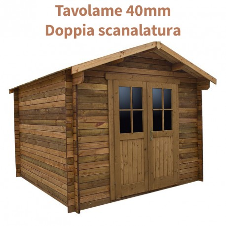 Casetta in legno trattato 9m² PLUS 40mm marrone Gardy Shelter