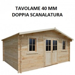 Casetta in legno grezzo massello 19,8m² PLUS 40mm Gardy Shelter
